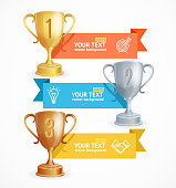 Award Cup Menu Infographic Option Banner Card. Vector