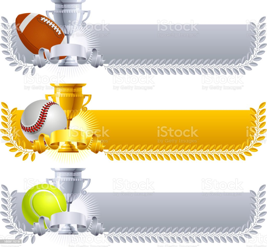 Award cup sport ball banners royalty-free stock vector art