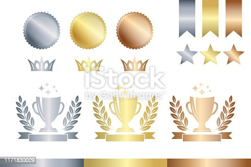 Award decoration elements. Gold, silver and bronze champion cup, medals and stars.