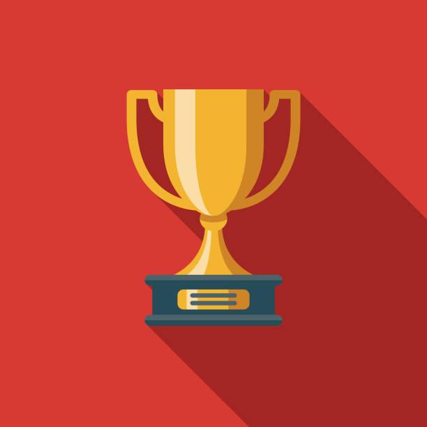 ilustrações, clipart, desenhos animados e ícones de prêmio design plano seo ícone - troféu
