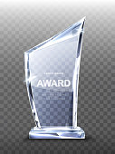 istock Award glass trophy on transparent background. 1207058041