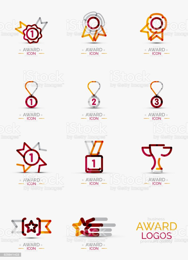 Award icon set, icon collection vector art illustration