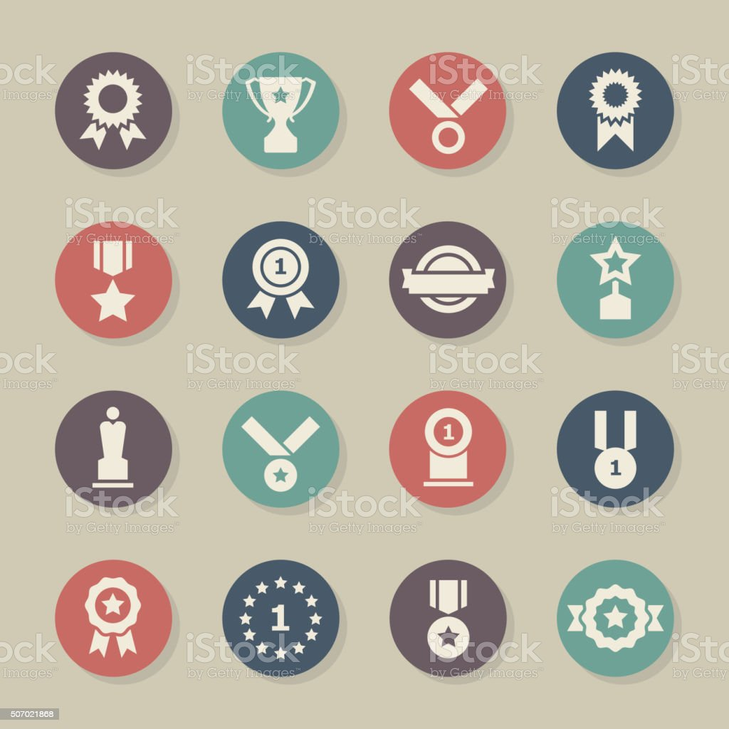 Award Icons - Color Circle Series vector art illustration