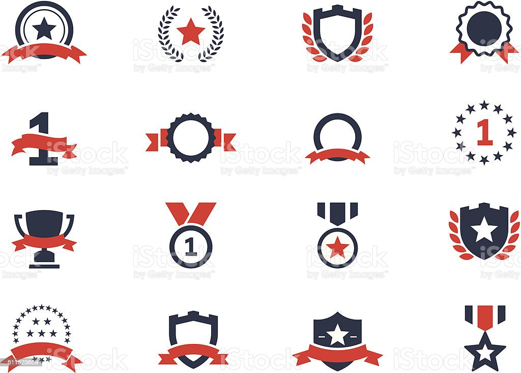 Award icons set vector art illustration
