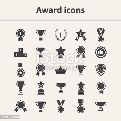 Award icon set.Vector black award icon collection isolated on a white background.Vector medal,cup,trophy icon set