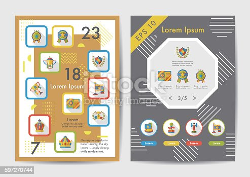 Award Icons Set With Long Shadoweps10 Stock Vector Art & More Images of Achievement 597270744