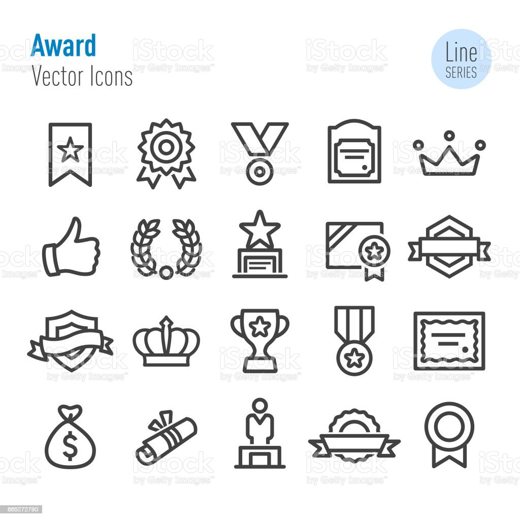 Award Icons - Vector Line Series vector art illustration