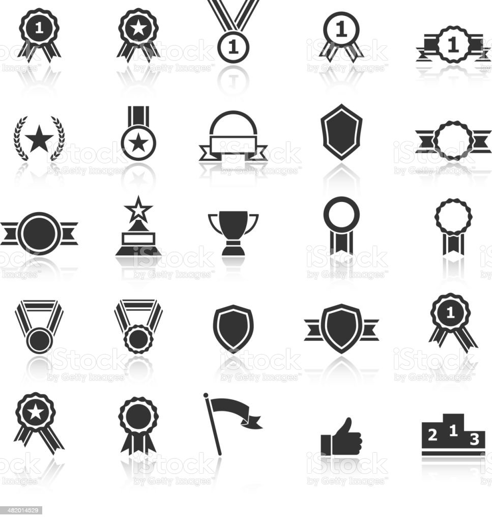 Award icons with reflect on white background vector art illustration