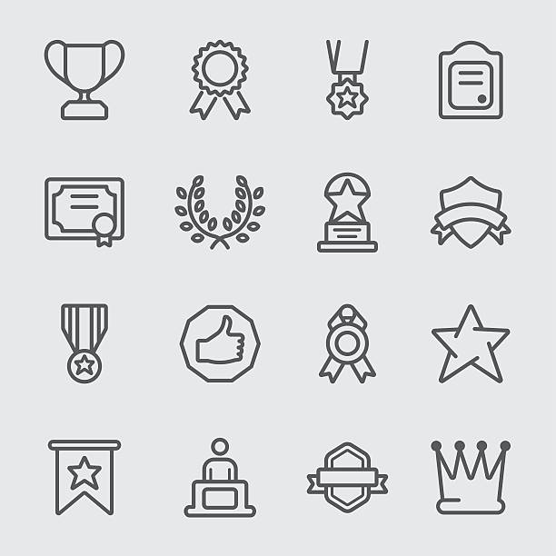 Award line icon vector art illustration