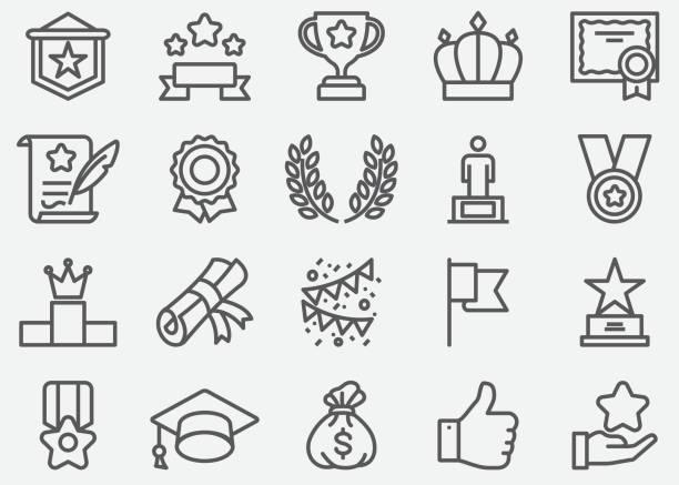 Award Line Icons Award Line Icons bay tree stock illustrations