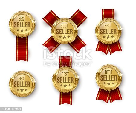 Award medal 3d realistic vector color illustrations set. Reward. Best seller golden medal with stars. Certified product. Quality badge, emblem with red ribbon. Winner trophy. Isolated design element