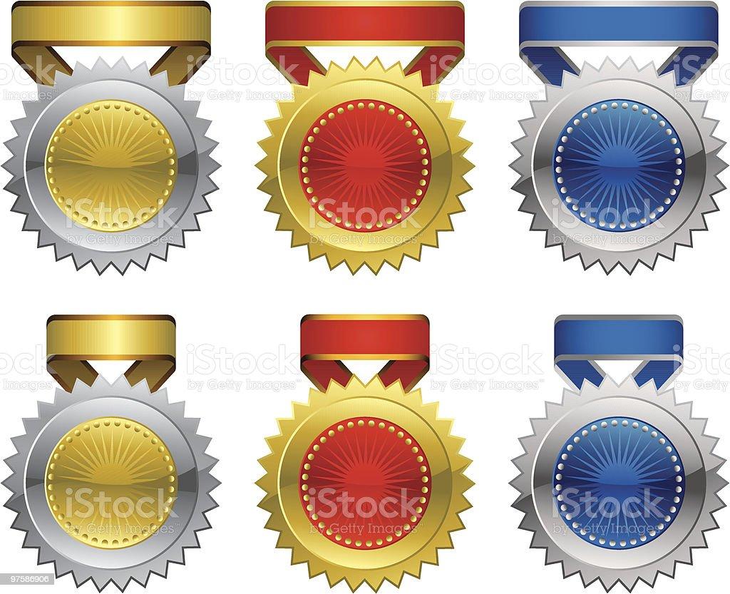 Award Medal Set vector art illustration