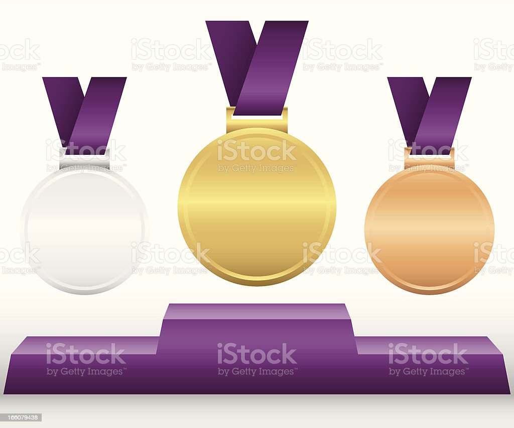 Award Medals and Podium royalty-free stock vector art