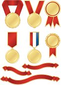 Metallic gold award medals, red ribbons, red/white/blue ribbon, stickers set. First place, prizes, design elements.