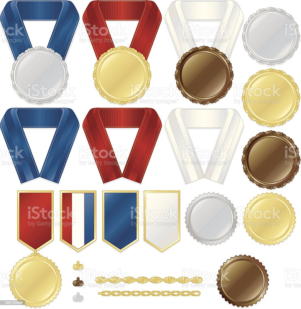 Award Medals, Stickers, Ribbons, Chains Set: Metallic Gold, Silver, Bronze royalty-free stock vector art
