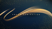 Awarding the nomination ceremony luxury background with golden glitter sparkles. Vector design