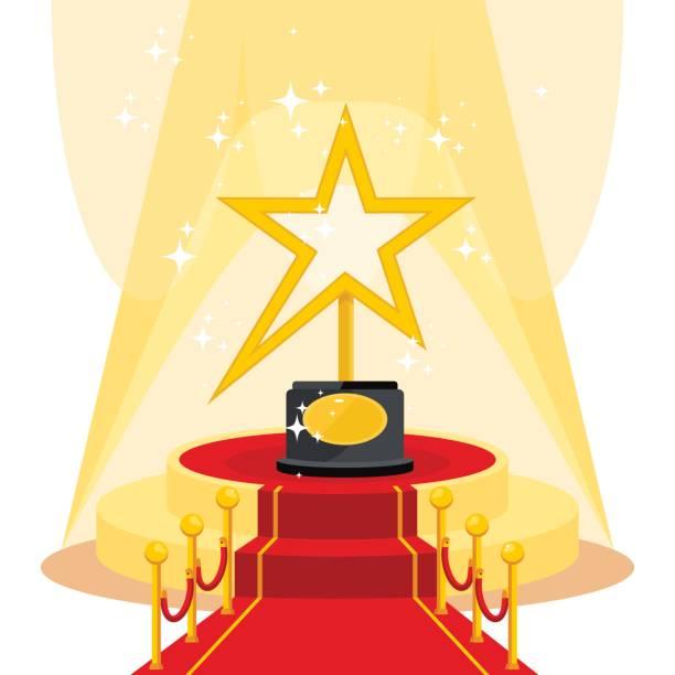 award on red carpet - oscars stock illustrations, clip art, cartoons, & icons