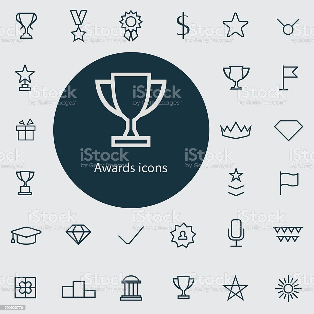 award outline, thin, flat, digital icon set vector art illustration