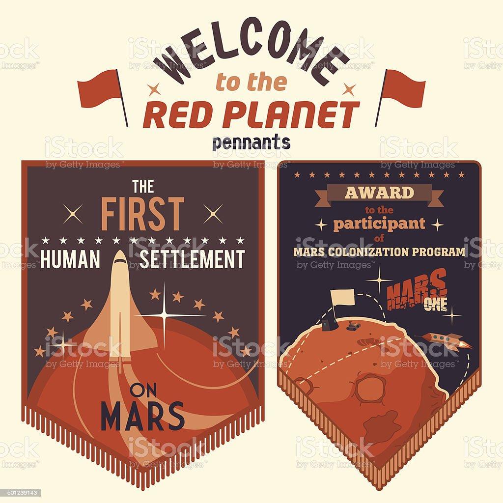 Award pennants for Mars colonization program vector art illustration
