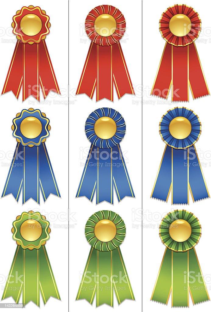 Award Ribbons - Red, Green and Blue royalty-free award ribbons red green and blue stock vector art & more images of award