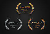 Award sign with laurel wreath - golden, silver and bronze variants