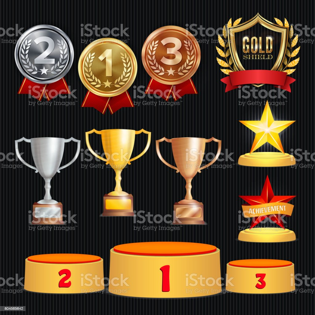 Award Trophies Vector Set. Achievement For 1st, 2nd, 3rd Place Ranks. Ceremony Placement Podium. Golden, Silver, Bronze Achievement. Championship Stars. Laurel Wreath With Gold Shield vector art illustration