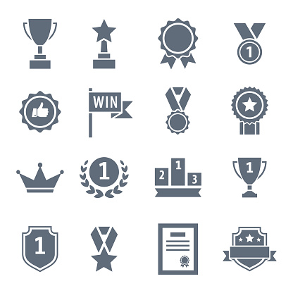 Award, trophy, cup and medal flat icon set - black illustration
