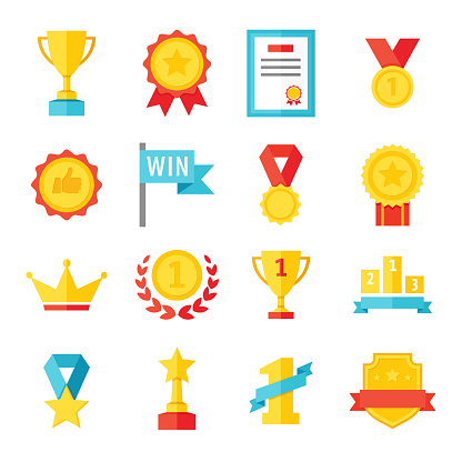 Award, trophy, cup and medal flat icon set - color illustration