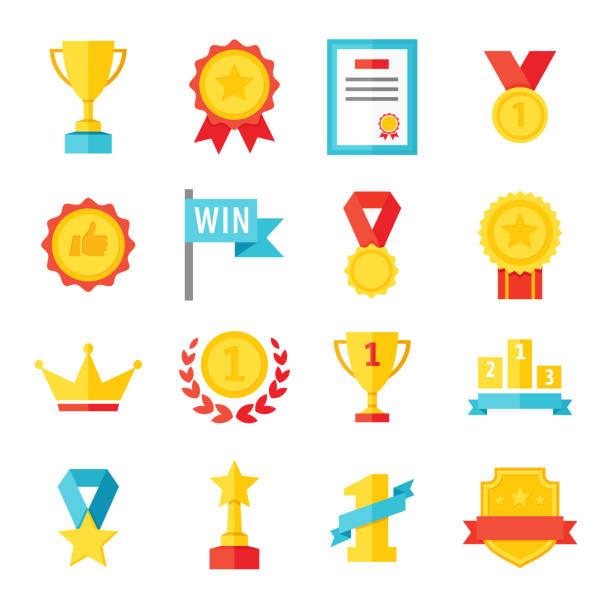 nagroda, trofeum, puchar i medal płaski zestaw ikon - ilustracja kolorowa - przypinka stock illustrations