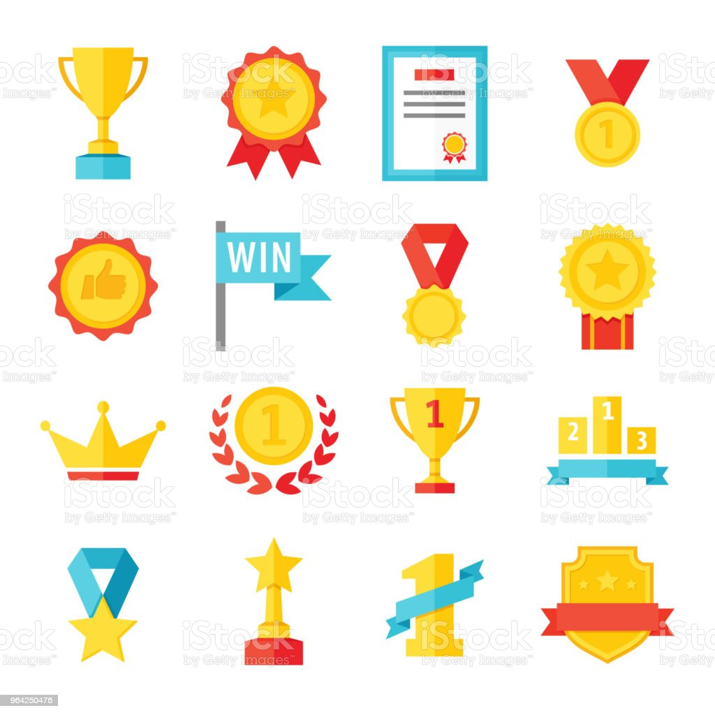 Award, trophy, cup and medal flat icon set - color illustration vector art illustration