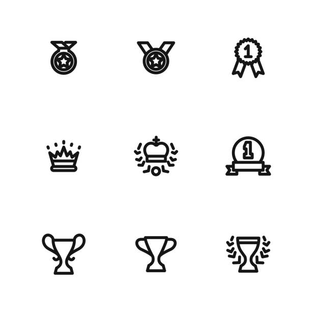 Award vector icons Award vector icons. Simple illustration set of 9 award elements, editable icons, can be used in symbol, UI and web design azerbaijan stock illustrations
