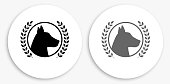 Award Winner Dog Black and White Round Icon. This 100% royalty free vector illustration is featuring a round button with a drop shadow and the main icon is depicted in black and in grey for a roll-over effect.