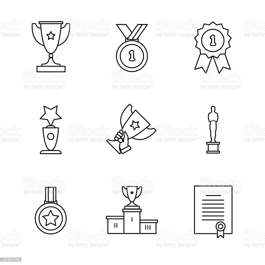 Award winner icons thin line art set vector art illustration