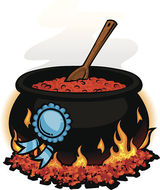 award winning chili chili pot with a blue ribbon cooking competition stock illustrations