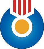 Award winning gold human medail logo icon