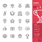 Award Winning and Success related stroke-style icons pack.