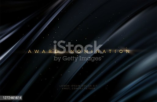 Awarding the nomination ceremony luxury black wavy background with golden glitter sparkles. Vector background EPS10