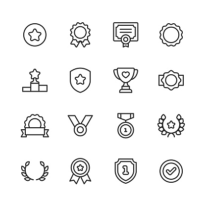 Awards and Achievement Line Icons. Editable Stroke. Pixel Perfect. For Mobile and Web. Contains such icons as Award, Medal, Gold, Achievement, Success, Podium, Winning.