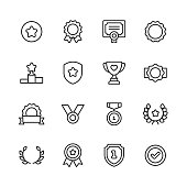 16 Awards and Achievement Outline Icons.