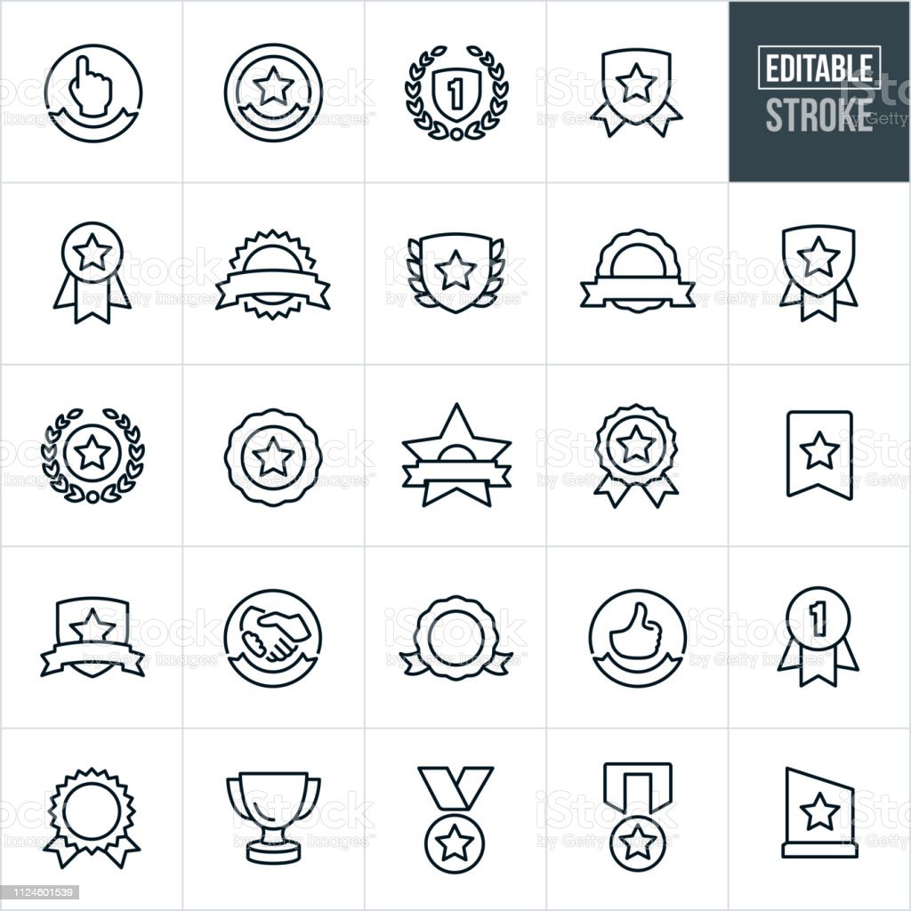 Prêmios e fitas linha ícones - Stroke editável - Vetor de Arte Linear royalty-free