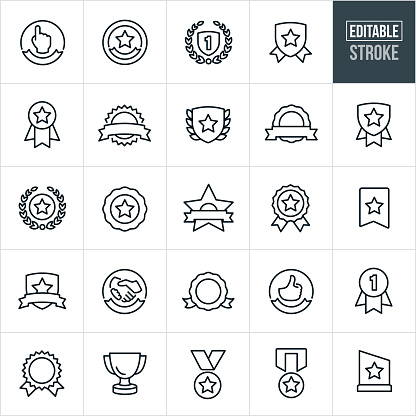 Awards And Ribbons Line Icons - Editable Stroke