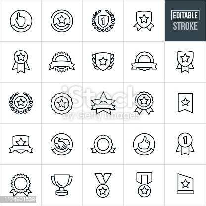 A set of awards and ribbons icons that include editable strokes or outlines using the EPS vector file. The icons include ribbons, awards, trophies, medals, plaques, seals and banners to name a few.