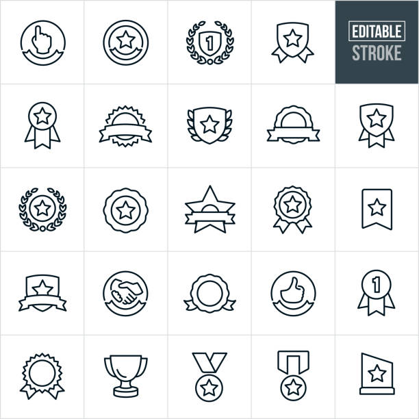 Awards And Ribbons Line Icons - Editable Stroke A set of awards and ribbons icons that include editable strokes or outlines using the EPS vector file. The icons include ribbons, awards, trophies, medals, plaques, seals and banners to name a few. first place stock illustrations