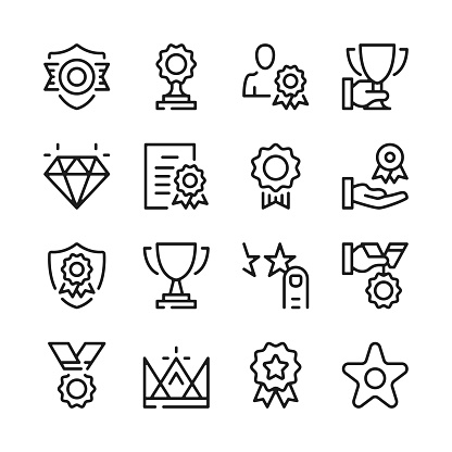 Awards and trophies line icons set. Modern graphic design concepts, simple outline elements collection. Vector line icons