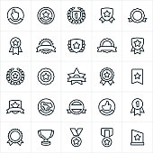 A variety of award, seal, banner and ribbon icons. The icons can be used to symbolize a variety of awards or accomplishments.