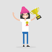 Awards ceremony. Young successful female character wearing an award badge and holding a champion cup. Achievement. Flat editable vector illustration, clip art
