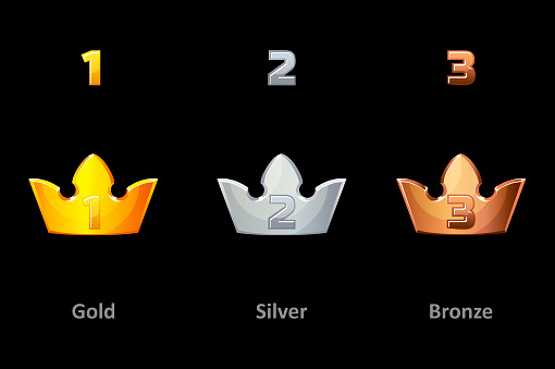 Awards crown icons. Collection gold, silver and bronze crown award for winners. Vector isolated elements for logo, label, game an app design. Royal king, queen, princess crown