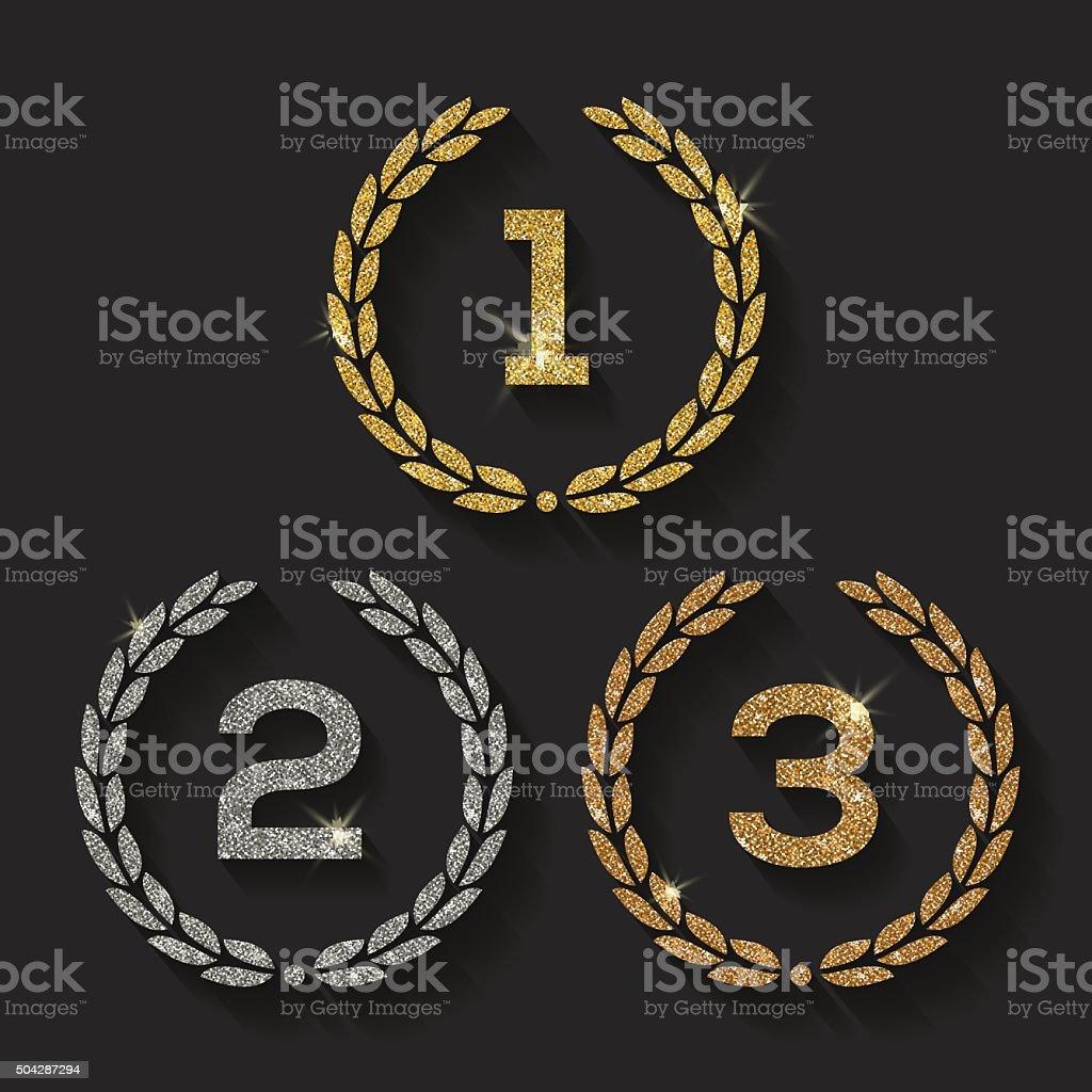 Awards glitter golden emblems vector art illustration