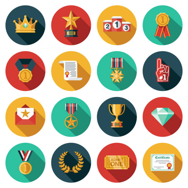 Awards Icon Set A set of icons. File is built in the CMYK color space for optimal printing. Color swatches are global so it's easy to edit and change the colors. win stock illustrations