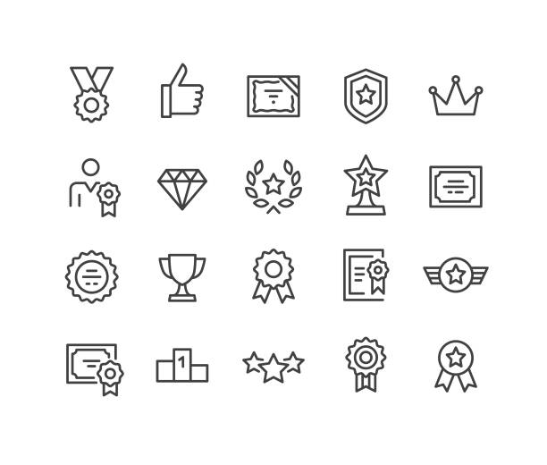 Awards Icons - Classic Line Series Awards, win stock illustrations